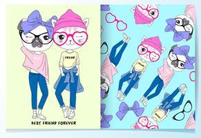 Hand drawn best friend fashion cats with pattern set