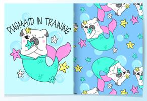 Hand drawn cute pug mermaid with pattern set