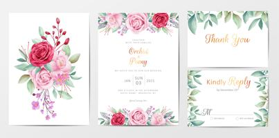 Elegant floral wedding invitation cards template set with flowers