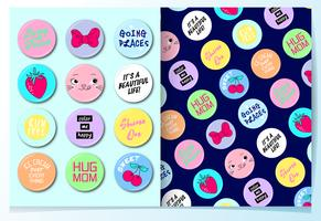Hand drawn cute badges with pattern set