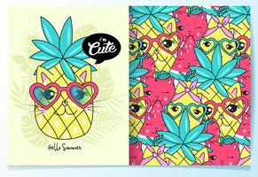 Hand drawn cute pineapple cat with pattern set