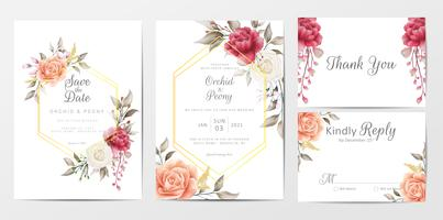 Vintage floral wedding invitation cards template set