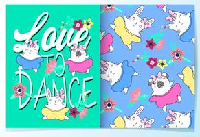Hand drawn cute cat and dog dance with pattern set