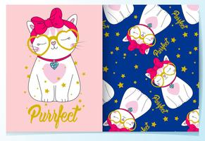 Hand drawn cute cat with glasses and bow pattern set