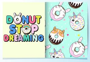 Hand drawn cute animal donuts and typography with pattern set vector