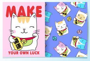 Main dessinée mignon chat de chance avec un motif