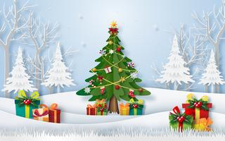 Origami paper art of Christmas tree in the forest with presents