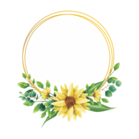 watercolor style sunflower frame design