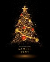 Gold Glitter Christmas tree  vector