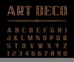 Fuente Art Deco y alfabeto vector
