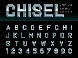 Beveled Chiseled Alphabet Letters and numbers vector