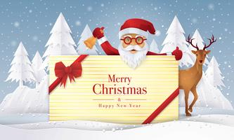 Santa Claus and reindeer holding gift with Merry Christmas Greeting Card