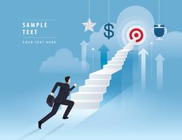 Businessman running up stairway to the target