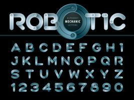 Modern Robot and Mechanic Alphabet Letters and numbers vector