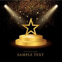 Spotlight on stage with Gold Star and Glitter  vector