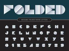 Folded Alphabet Letters and numbers vector
