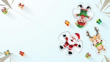 Papá Noel haciendo ángulos de nieve