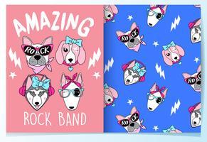 Banda de rock mão desenhada cachorro fofo com conjunto de padrões vetor