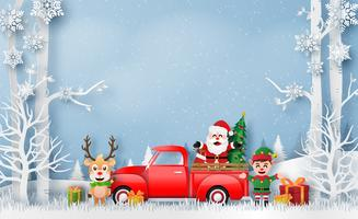 Christmas card with red truck with Santa Claus and Reindeer