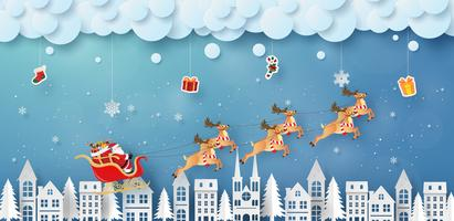 Origami paper style of Santa Clause over a city