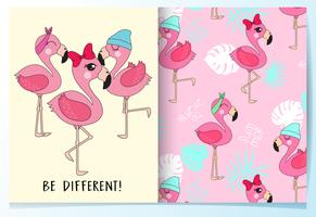 Hand drawn cute flamingos with pattern set