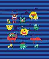Hand drawn cute monster in stripes illustration