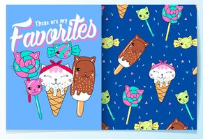 Hand drawn cute candy and ice cream cats with pattern set