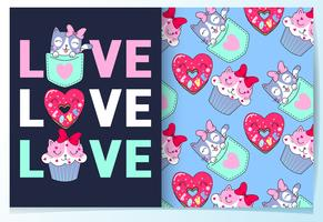 Hand drawn cute cat cupcake and donut with pattern set vector