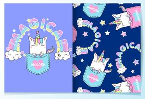 Hand drawn cute unicorn in pocket pattern set