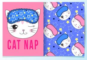 Hand drawn cute cat nap cat with sleeping mask pattern set
