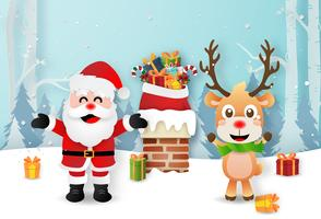 Origami paper art of Santa Claus and Reindeer on the rooftop vector