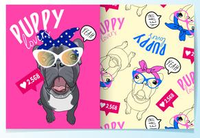 Hand drawn cute pug with glasses pattern set