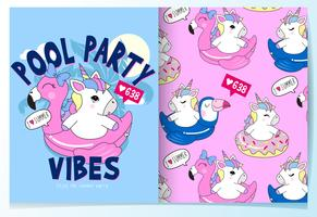 Hand drawn cute unicorn in pool float with pattern set vector