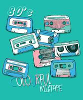 Set d'illustration cassette vintage dessinés à la main vecteur