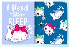 Hand drawn cute sleeping cat with pattern set