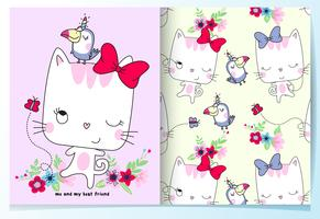 Conjunto de patrones de mejores amigos lindo gato y pájaro dibujado a mano vector