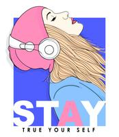 Hand drawn girl with beanie, headphones and typography