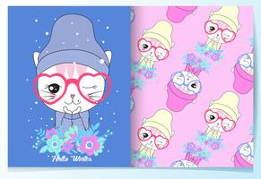Hand drawn cute cat with beanie and flowers pattern set