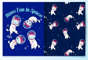 Hand drawn cute cat in space pattern set