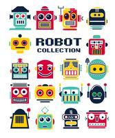 Hand drawn cute robot heads