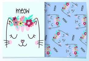 Hand drawn cute cat with flowers on head pattern set vector