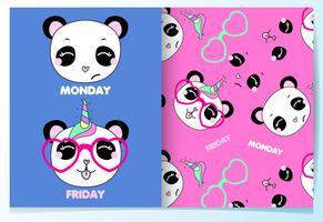 Mão desenhada panda bonito com conjunto de óculos padrão