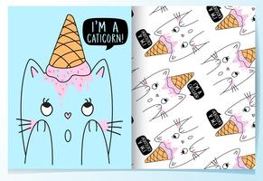 Hand drawn cute cat with ice cream cone on head pattern set