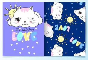 Hand drawn cute cat clouds with pattern set