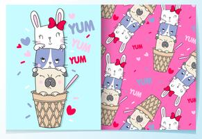 Hand drawn cute animals in ice cream cone with pattern set