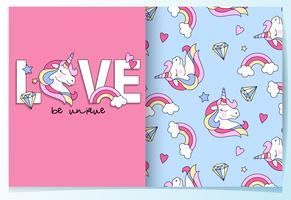 Hand drawn cute unicorn in the word love pattern set
