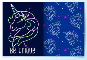 Licorne de néon mignon dessiné main avec jeu de motifs