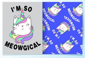 Hand drawn cute cat with unicorn horn pattern set