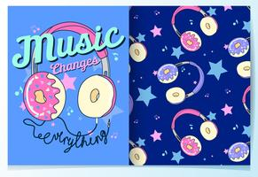 Hand drawn cute donut headphone with pattern set vector