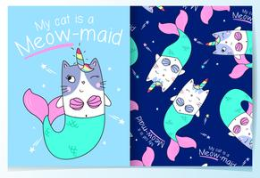 Hand drawn cute mermaid cat with pattern set
